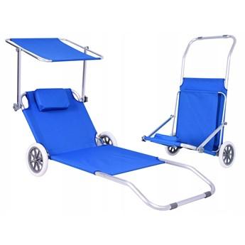Leżak turystyczny z kółkami Martin - BLUE
