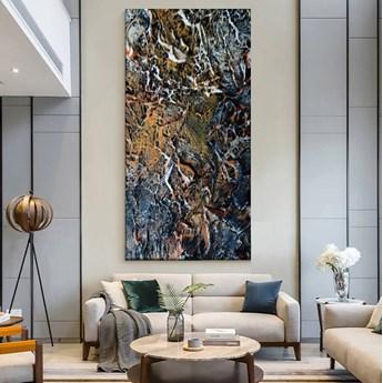 ARTISTIC STONE - Wielkoformatowy obraz na płótnie abstrakcyjny art&texture™ 80x170cm