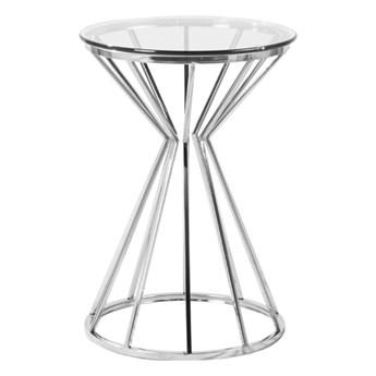 Nowoczesny szklany stolik osadzony na geometrycznej podstawie 42x60 cm J036A