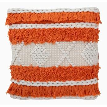 Poduszka bawełna pomarańcz i biel