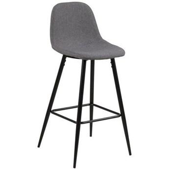 Niski stołek barowy na czarnych nogach Crystal 65 Calle jasny szary