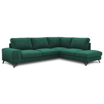Zielony narożnik z funkcją spania Flavio Meblobranie welur 283x214x91 cm