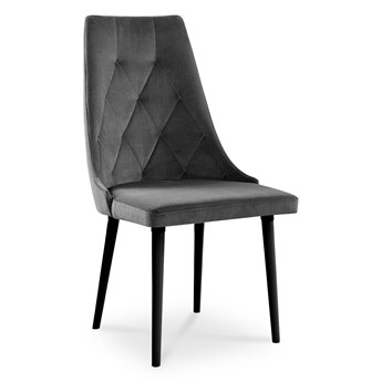 Bettso Wygodne krzesło tapicerowane CARO VELVET szary / PA06