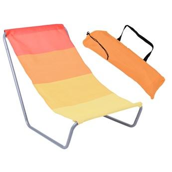 Leżak turystyczny plażowy składany Olek - pomarańczowe pasy