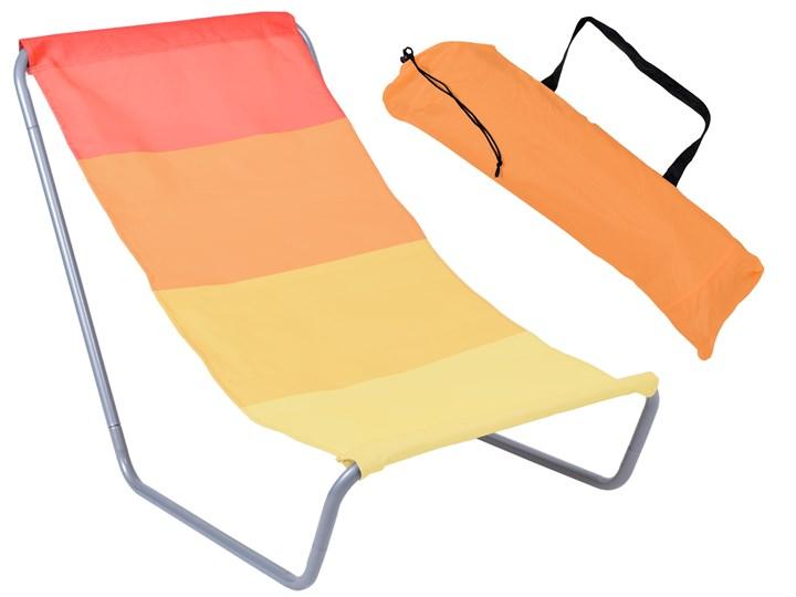 Leżak turystyczny plażowy składany Olek - pomarańczowe pasy Kolor Pomarańczowy Metal Składane Kolor Beżowy