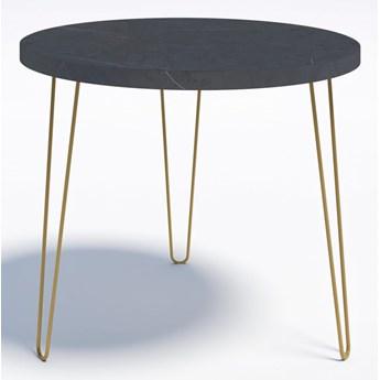 Minimalistyczny stół okrągły RING P 90 Złote nogi Wytrawny szary kamień