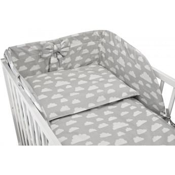 Bawełniana pościel do łóżeczka dziecięcego - SZARY W BIAŁE CHMURKI