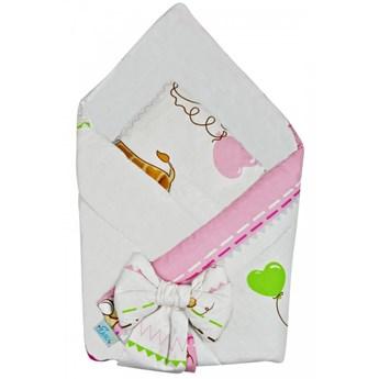 Rożek niemowlęcy bawełniany otulacz dziecięcy becik - ZEBRA BALONIK RÓŻOWY