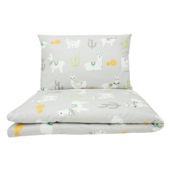 Lamy na szarym tle - komplet poszewek do łóżeczka