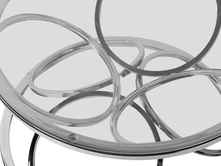 Stolik okrągły szklany  / srebro FUTUR GLAMUR Wysokość 42 cm Stal Szkło Styl Nowoczesny