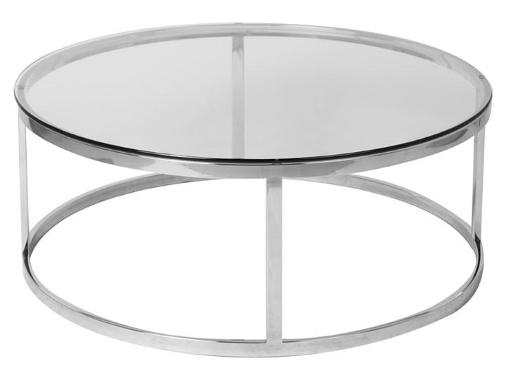 Stolik okrągły szklany  / srebro Firro GLAMUR Stal Szkło Wysokość 40 cm Kształt blatu Okrągłe