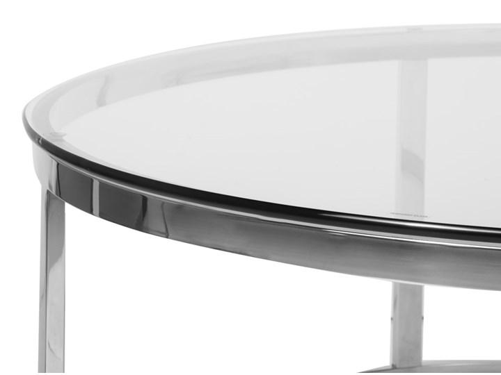 Stolik okrągły szklany  / srebro Firro GLAMUR Kategoria Stoliki i ławy Szkło Wysokość 40 cm Stal Styl Nowoczesny