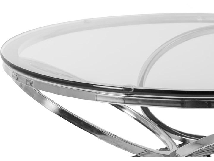 Stolik okrągły szklany  / srebro FUTUR GLAMUR Szkło Wysokość 42 cm Stal Kategoria Stoliki i ławy
