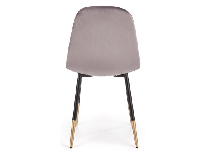 Krzesło K379 VELVET szare HALMAR Szerokość 45 cm Tworzywo sztuczne Tkanina Metal Stal Wysokość 88 cm Głębokość 48 cm Drewno Welur Tapicerowane Styl Rustykalny