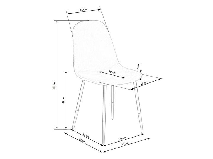 Krzesło K379 VELVET szare HALMAR Stal Tapicerowane Szerokość 45 cm Tkanina Wysokość 88 cm Tworzywo sztuczne Welur Metal Drewno Głębokość 48 cm Styl Rustykalny
