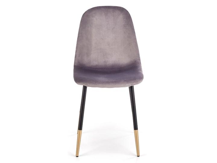 Krzesło K379 VELVET szare HALMAR Szerokość 45 cm Stal Tworzywo sztuczne Metal Głębokość 48 cm Wysokość 88 cm Drewno Tkanina Tapicerowane Welur Styl Glamour