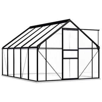 vidaXL Szklarnia z ramą podstawy, antracytowa, aluminium, 5,89 m³