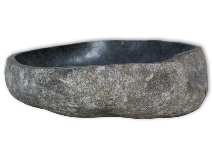 vidaXL Umywalka z kamienia rzecznego, owalna, 30-37 cm Kamień naturalny Kategoria Umywalki Owalne Kolor Czarny