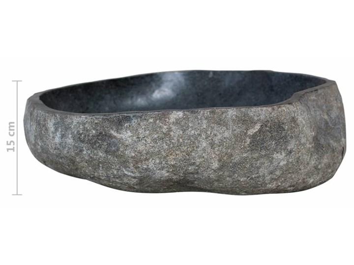 vidaXL Umywalka z kamienia rzecznego, owalna, 38-45 cm Kategoria Umywalki Kamień naturalny Owalne Kolor Czarny