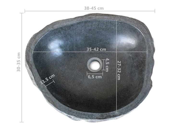 vidaXL Umywalka z kamienia rzecznego, owalna, 38-45 cm Owalne Kategoria Umywalki Kamień naturalny Kolor Czarny