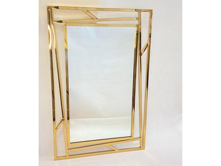 Lustro prostokątne metalowe złote ZEGNA 60x1x90cm Ścienne Lustro z ramą Kategoria Lustra