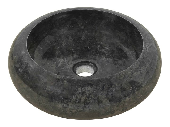 vidaXL Umywalka, 40 x 12 cm, marmurowa, czarna Okrągłe Kamień naturalny Kolor Czarny Szerokość 40 cm Kategoria Umywalki