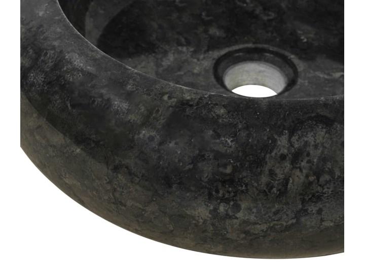 vidaXL Umywalka, 40 x 12 cm, marmurowa, czarna Okrągłe Kamień naturalny Szerokość 40 cm Kolor Czarny Kategoria Umywalki