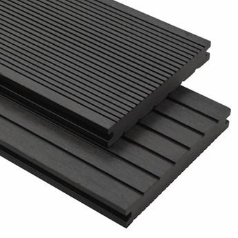 vidaXL Deski tarasowe z litego WPC z akcesoriami, 10 m², 2,2 m, czarne