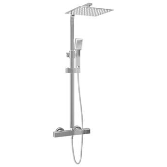 vidaXL Prysznic z deszczownicą i słuchawką, termostat, stal nierdzewna