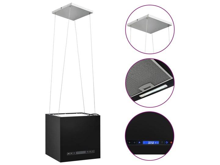 vidaXL Wiszący okap nad wyspę, dotykowy LCD, 37 cm, stal Kategoria Okapy Okap wyspowy Kolor Czarny