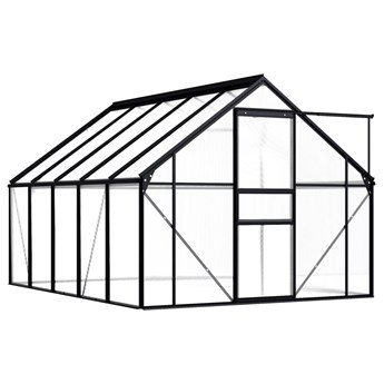 vidaXL Szklarnia, antracytowa, aluminium, 5,89 m²