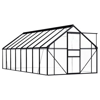 vidaXL Szklarnia, antracytowa, aluminium, 9,31 m²