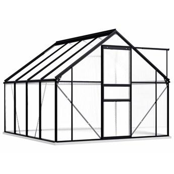 vidaXL Szklarnia z ramą podstawy, antracytowa, aluminiowa, 4,75 m²
