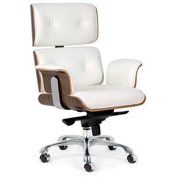 Tapicerowany fotel obrotowy ze skóry naturalnej - Bermund 2X