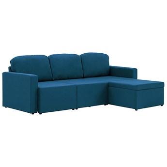 Rozkładana sofa modułowa niebieska tkanina - Lanpara 4Q