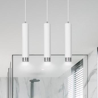 KIBO 3 WHITE-CHROME 641/3 designerski spot wiszący białe tuby srebrne dodatki