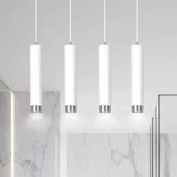 KIBO 4 WHITE-CHROME 641/4 designerski spot wiszący białe tuby srebrne dodatki