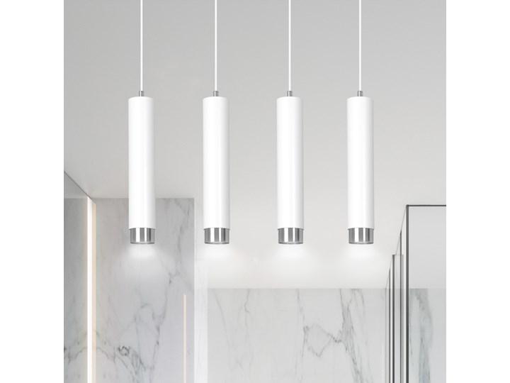 KIBO 4 WHITE-CHROME 641/4 designerski spot wiszący białe tuby srebrne dodatki Lampa LED Metal Kolor Biały Kategoria Lampy wiszące
