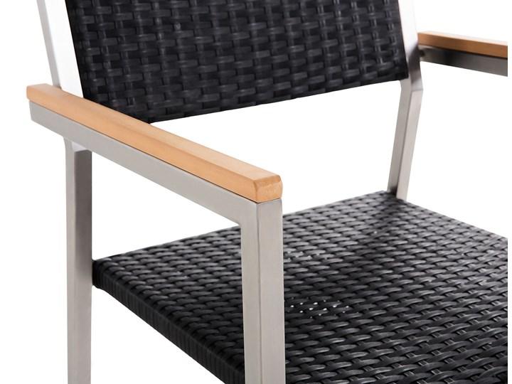 Zestaw mebli ogrodowych jadalniany szary stół granit/bazalt 220 x 100 cm 8 czarnych krzeseł z technorattanu sztaplowanych Stal Stoły z krzesłami Styl Nowoczesny Kolor Srebrny