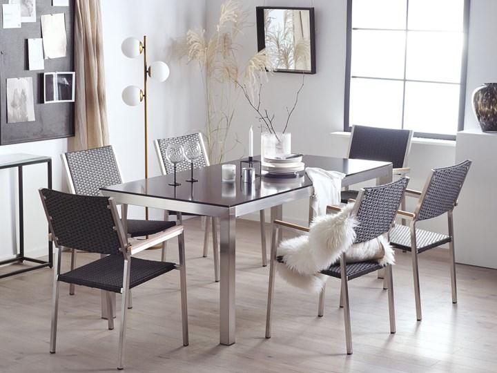 Zestaw mebli ogrodowych jadalniany czarny stół szkło hartowane 180 x 90 cm 6 krzeseł czarnych z technorattanu sztaplowanych Stoły z krzesłami Stal Kolor Szary Styl Nowoczesny