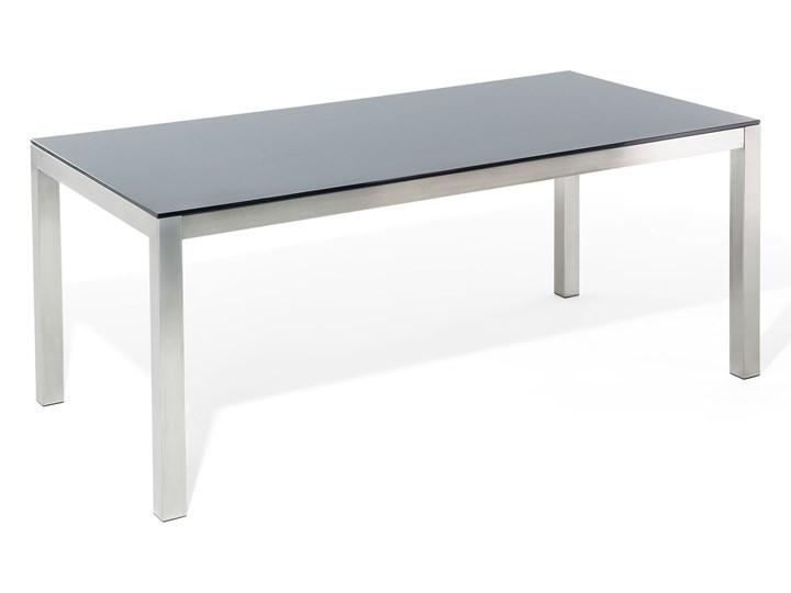 Zestaw mebli ogrodowych jadalniany czarny stół szkło hartowane 180 x 90 cm 6 krzeseł czarnych z technorattanu sztaplowanych Stal Stoły z krzesłami Kategoria Zestawy mebli ogrodowych Zawartość zestawu Krzesła