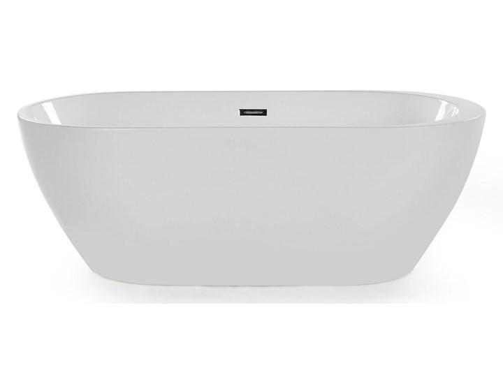 Wanna wolnostojąca biała akrylowa 170 x 80 cm system przelewowy owalna retro Kolor Biały Wolnostojące Kategoria Wanny