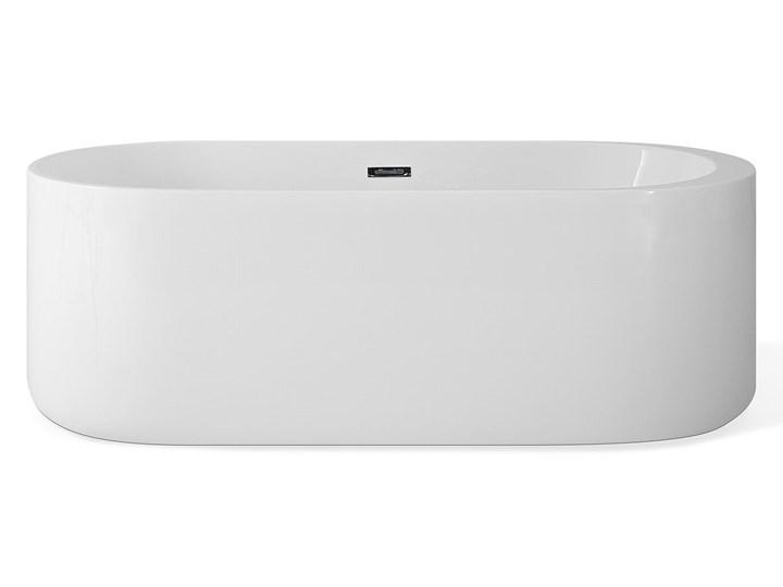 Wanna wolnostojąca biała akrylowa 170 x 80 cm system przelewowy owalna współczesna Wolnostojące Kolor Biały Długość 170 cm Kategoria Wanny
