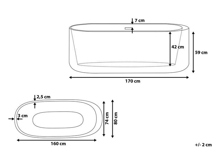 Wanna wolnostojąca biała akrylowa 170 x 80 cm system przelewowy owalna współczesna Kolor Biały Wolnostojące Długość 170 cm Kategoria Wanny