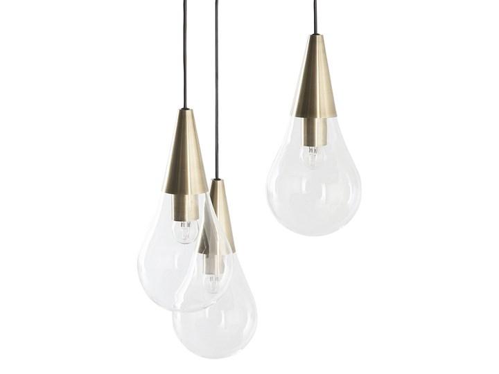 Lampa sufitowa przezroczysta szklana 118 cm miedziany akcent 3 klosze kształt kropli nowoczesna Żarówka na kablu Metal Szkło Kategoria Lampy wiszące