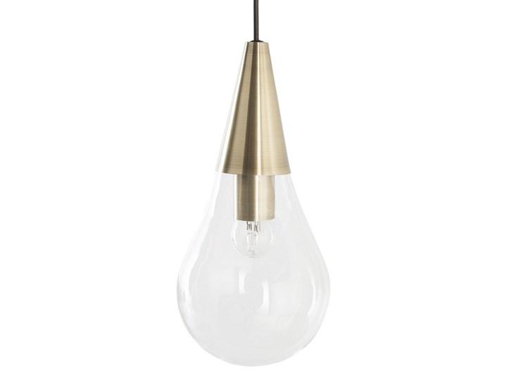 Lampa sufitowa przezroczysta szklana 118 cm miedziany akcent 3 klosze kształt kropli nowoczesna Kategoria Lampy wiszące Szkło Żarówka na kablu Metal Kolor Przezroczysty