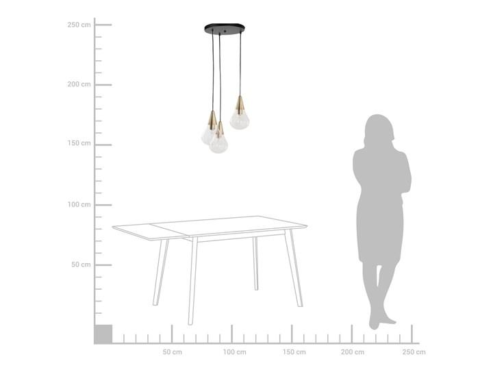 Lampa sufitowa przezroczysta szklana 118 cm miedziany akcent 3 klosze kształt kropli nowoczesna Szkło Żarówka na kablu Kolor Przezroczysty Metal Kolor Złoty