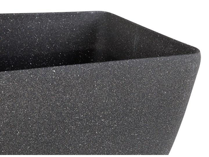 Doniczka ciemnoszara kwadratowa 34 x 34 cm do ogrodu Kamień Donica ogrodowa Kwadratowy Kategoria Donice ogrodowe Kolor Szary