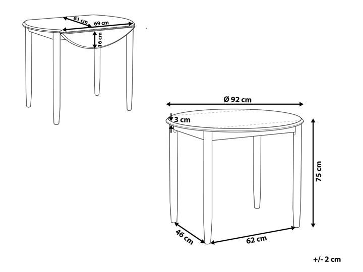 Stół do jadalni szary jasne drewno 60/92 x 92 cm rozkładany okrągły 4 miejsca skandynawski Szerokość 60 cm Pomieszczenie Stoły do jadalni Kategoria Stoły kuchenne