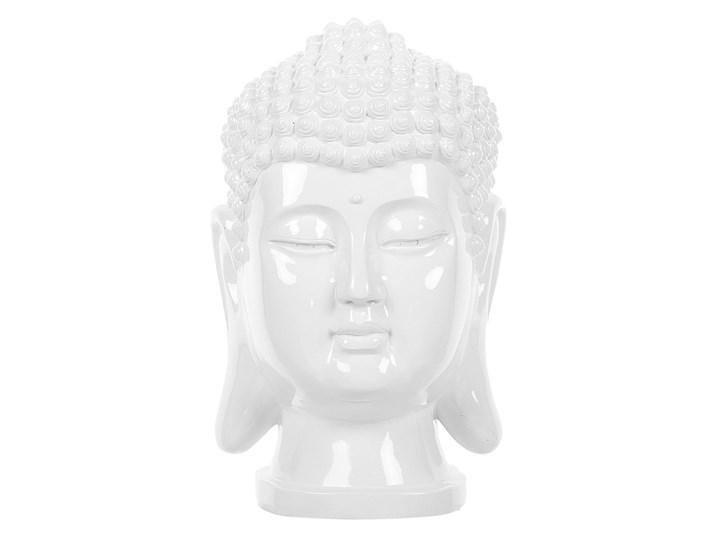 Figura dekoracyjna biała stojąca głowa Buddy 41 cm Tworzywo sztuczne Rośliny Ludzie Kolor Biały